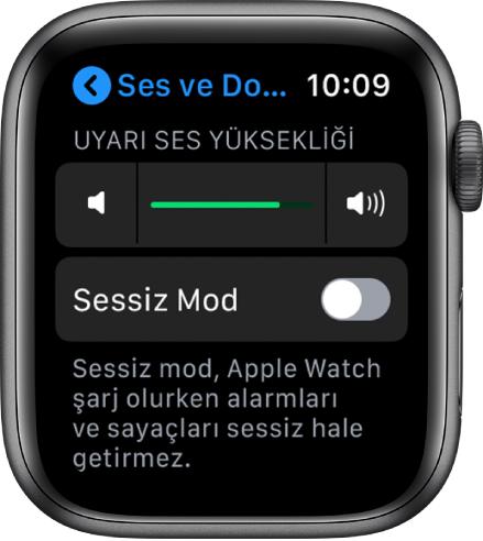 En üstte Uyarı Ses Yüksekliği sürgüsünü ve altında sessiz mod düğmesini gösteren AppleWatch'taki Ses ve Dokunuş ayarları.