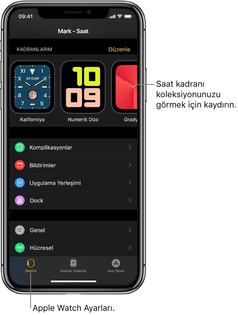 Üst tarafta saat kadranlarını ve altta ayarları gösteren Saatim ekranı açık olarak iPhone'daki AppleWatch uygulaması. AppleWatch uygulaması ekranının en altında dört sekme vardır: soldaki sekme AppleWatch ayarlarını yapmak için gittiğiniz Saatim; yanındaki, kullanılabilir saat kadranlarını ve komplikasyonları keşfedebileceğiniz Kadran Galerisi; diğeri, AppleWatch için uygulamalar indirebileceğiniz AppStore ve sonuncusu ise AppStore'da uygulama bulabileceğiniz Ara sekmesidir.