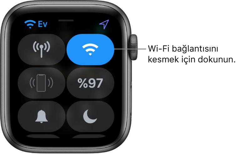 """Wi-Fi düğmesi sağ üstte olmak üzere Apple Watch'taki (GPS + Hücresel) Denetim Merkezi. Belirtme çizgisinde """"Wi-Fi bağlantısını kesmek için dokunun"""" yazıyor."""