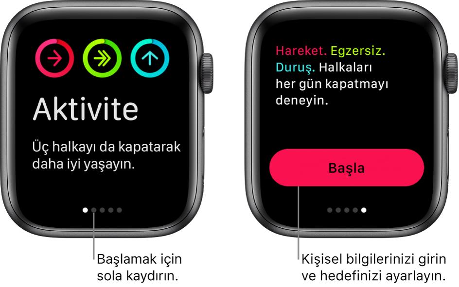 İki ekran: Biri Aktivite uygulamasının açılış ekranını, diğeri Başla düğmesini gösteriyor.