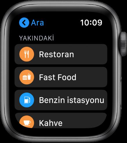Kategori listesini gösteren Harita uygulaması: Restoranlar, Fast Food, Benzin İstasyonları, Kahve vb.