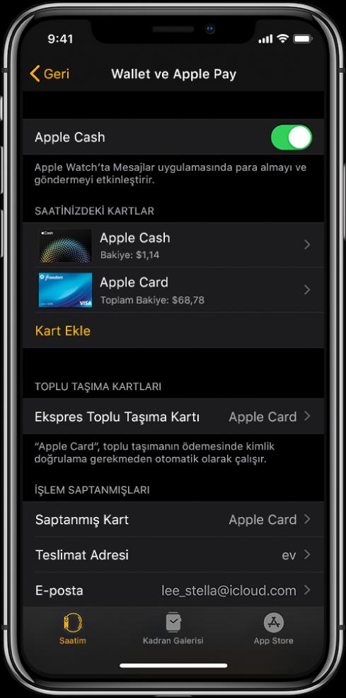 iPhone'daki AppleWatch uygulamasında Wallet ve ApplePay ekranı. Ekran Apple Watch'a eklenen kartları, ekspres toplu taşıma için kullanmak üzere seçtiğiniz kartı ve işlem saptanmış ayarlarını gösterir.