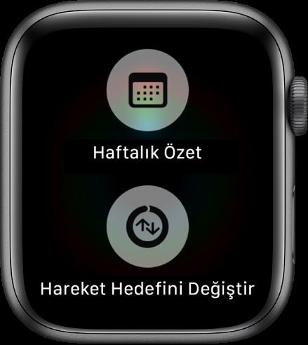 Haftalık Özet düğmesini ve Hareket Hedefini Değiştir düğmesini gösteren Aktivite uygulaması ekranı.