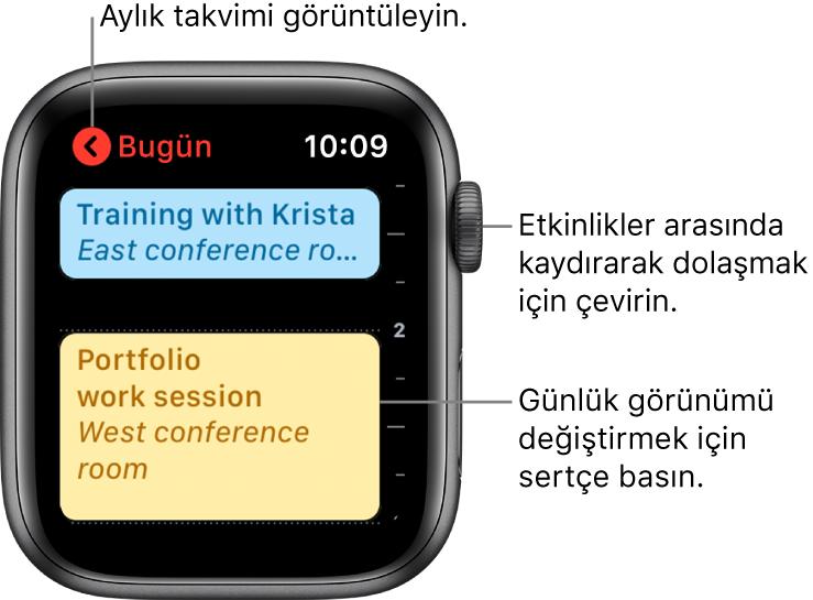 Güne ait etkinliklerin listesini gösteren Takvim ekranı.