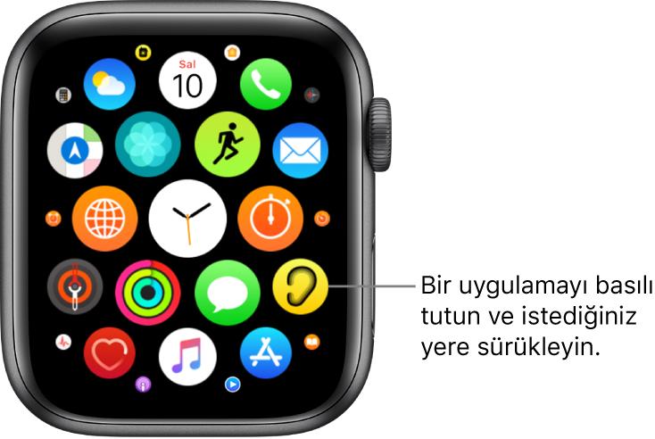 """Izgara görüntüsündeki Apple Watch ana ekranı. Belirtme çizgisinde """"Bir uygulamayı basılı tutun ve istediğiniz konuma sürükleyin"""" yazıyor."""
