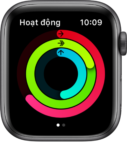 Màn hình Hoạt động đang hiển thị ba vòng – Di chuyển, Thể dục và Đứng.