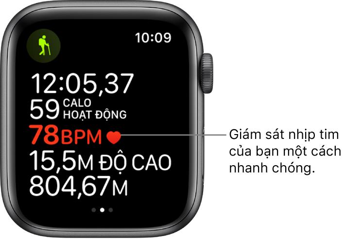 """Một màn hình đang hiển thị số liệu thống kê bài tập, bao gồm thời gian đã qua và nhịp tim. Chú thích có nội dung, """"Giám sát nhịp tim của bạn một cách nhanh chóng."""""""