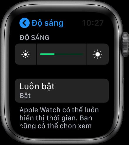 Màn hình Apple Watch đang hiển thị nút Luôn bật trong màn hình Độ sáng và Cỡ chữ.