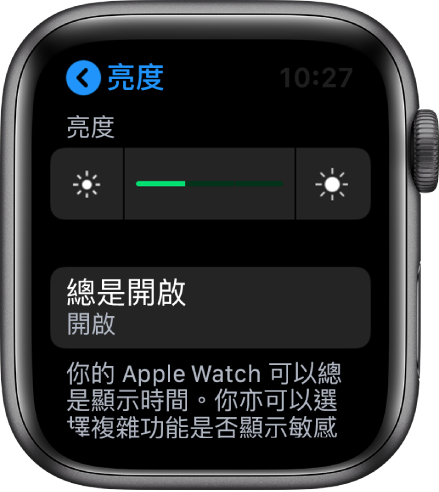 Apple Watch 螢幕顯示「亮度與文字大小」畫面中的「總是開啟」按鈕。