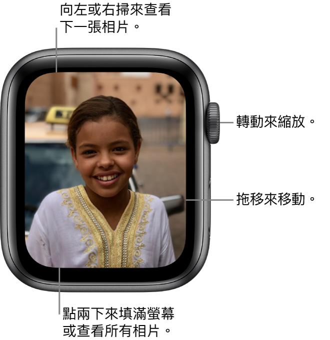 在檢視相片時,轉動「數碼錶冠」縮放,拖移以移動,或點兩下以在檢視所有相片及填滿螢幕之間切換。左右輕掃以查看下一張相片。
