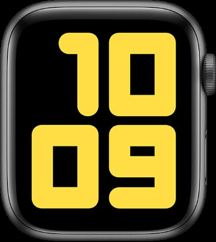 """""""双色数字""""表盘以非常大的数字显示 10:09。"""