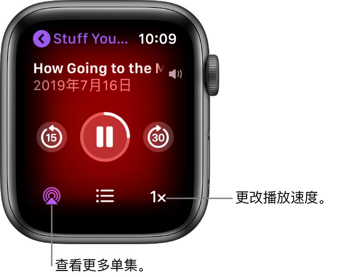 """""""播客""""的""""播放中""""屏幕,显示节目标题、单集标题、日期、向后跳 15 秒按钮、暂停按钮、向前跳 30 秒按钮、单集按钮、音量指示器以及播放速度按钮。"""