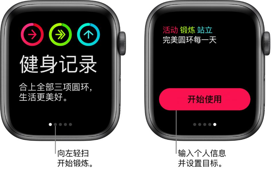"""两个屏幕:一个显示打开的""""健身记录"""" App 屏幕,另一个显示""""开始使用""""按钮。"""