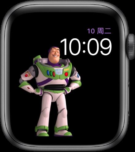 """""""玩具总动员""""表盘,右上方显示星期几、日期和时间,屏幕左侧中间显示动画巴斯光年。"""