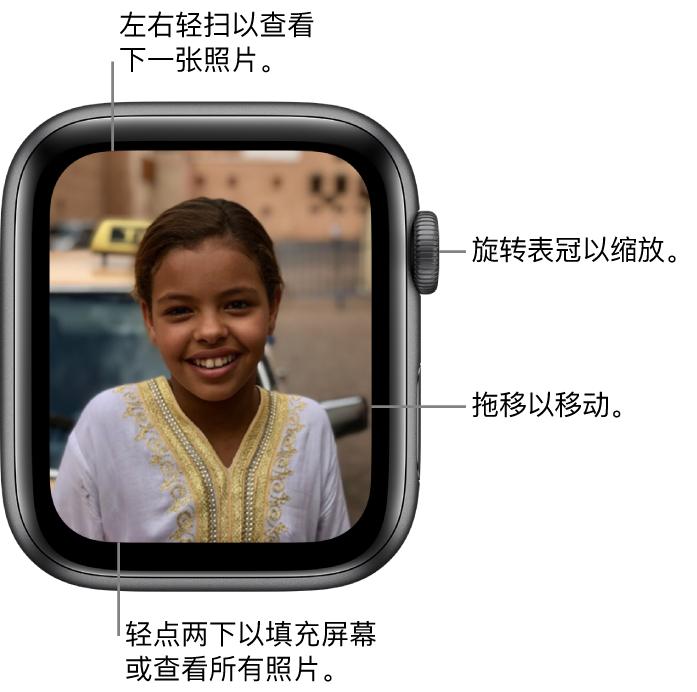 查看照片时,旋转数码表冠可进行缩放,拖移可进行移动,或者轻点两下可在查看所有照片和使该照片填充整个屏幕间切换。左右轻扫来查看下一张照片。