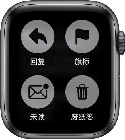 如果在 AppleWatch 上查看邮件时按压屏幕,屏幕上会出现四个按钮:回复、旗标、未读和废纸篓。