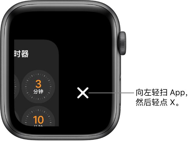 程序坞界面,向左轻扫某个 App 后,右侧是 X 按钮。