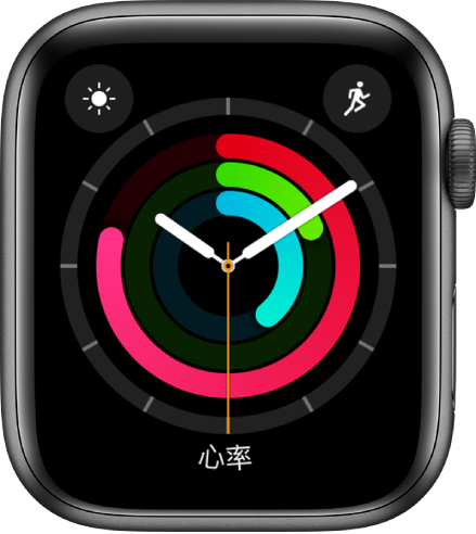 """""""健身记录指针""""表盘显示时间和""""活动""""、""""锻炼""""与""""站立""""目标进度。还有三个复杂功能:天气状况(左上方)、体能训练(右上方)和心率(底部)。"""