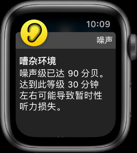 """显示""""噪声""""通知的 Apple Watch。与通知相关联 App 的图标显示在左上方。您可以轻点图标来打开 App。"""