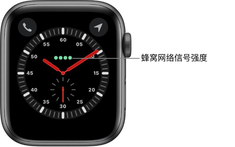 """""""探索者""""表盘是一个模拟时钟。表盘中心正上方是四个绿色圆点,表示蜂窝网络信号强度。"""