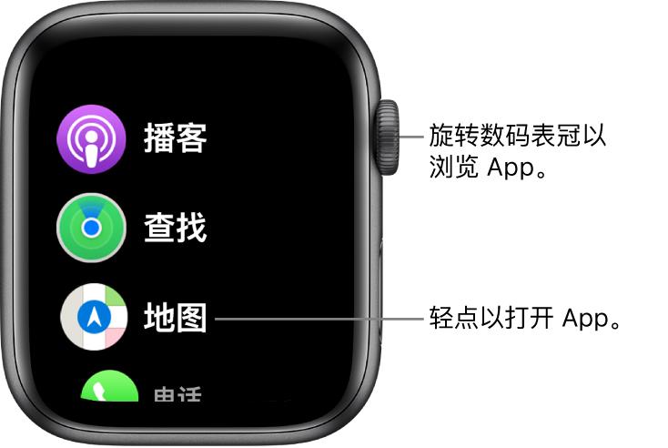 Apple Watch 上列表视图中的主屏幕,App 以列表方式显示。轻点以打开 App。滚动以查看更多 App。