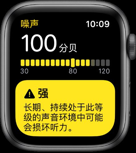 """显示 100dB 分贝""""噪声""""屏幕。下方为警告。"""