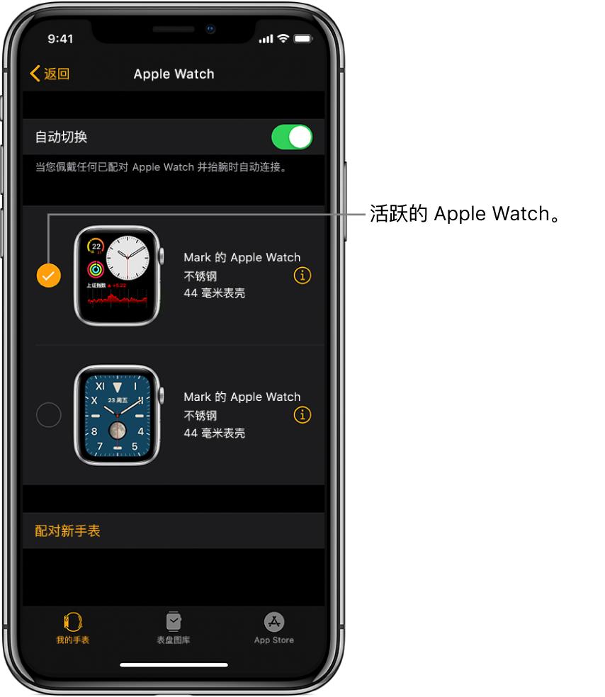 勾号表示活跃的 Apple Watch。