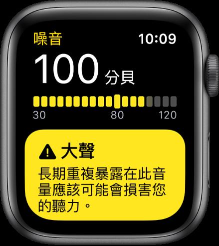 「噪音」App 顯示 100db 的讀數。有關長期暴露於此音量的警告如下所示。