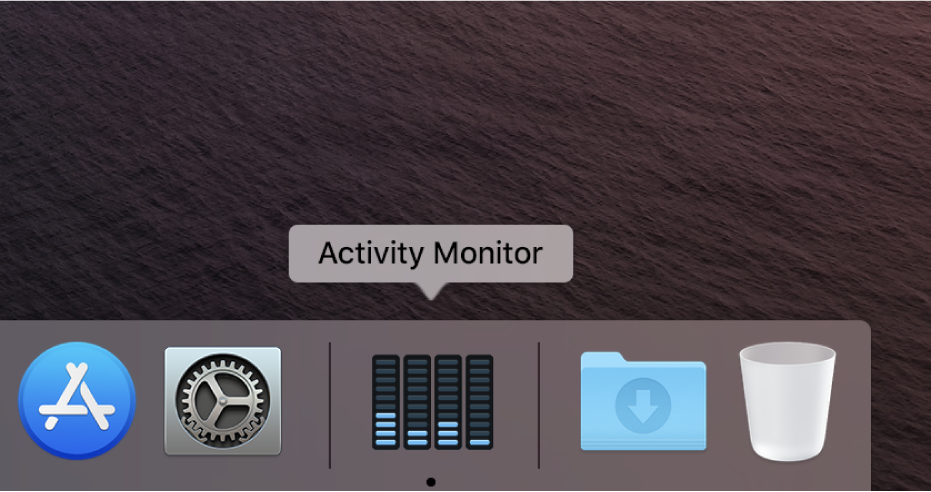 The Activity Monitor icon in the Dock showing disk activity.