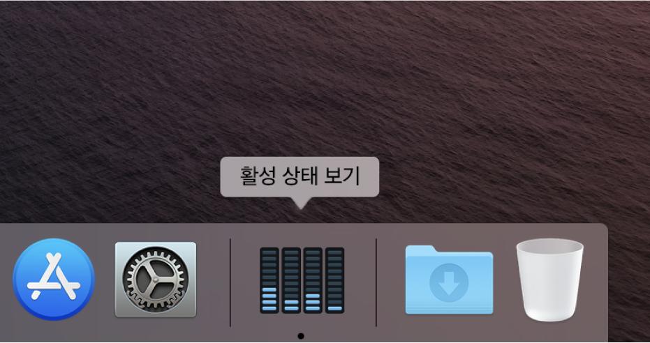 Dock에서 디스크 활성 상태를 보여주는 활성 상태 보기 아이콘입니다.