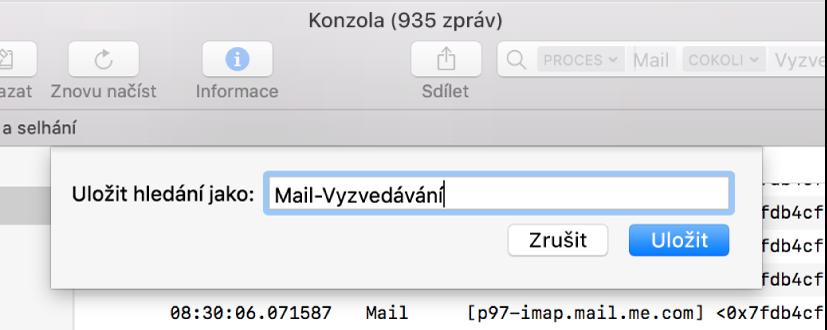 Ukládání hledání vokně Konzoly po zadání vyhledávacích kritérií