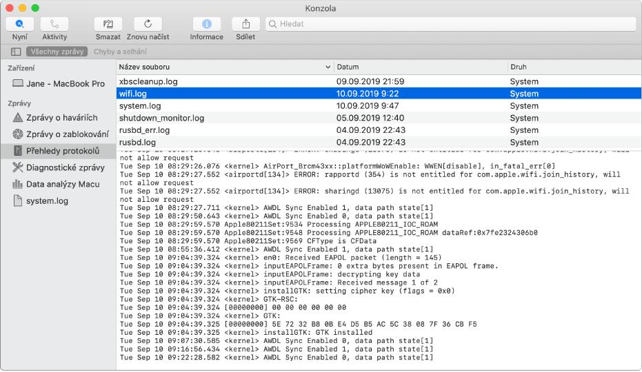 Okno Konzoly, vněmž je zobrazena zpráva wifi.log adole podrobné informace
