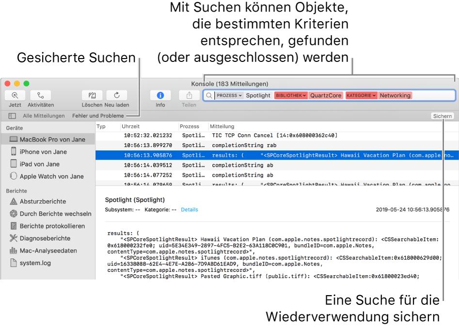 """Das Fenster """"Konsole"""" mit eingegebenen Suchkriterien. Bei einer Suche kannst du Protokollmeldungen und Aktivitäten auf der Basis verschiedener Kategorien ausschließen oder einbeziehen."""