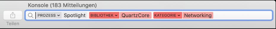 """Das Suchfeld im Fenster """"Konsole"""", in dem für das Suchkriterium festgelegt wurde, Meldungen vom Prozess """"Spotlight"""", aber nicht aus der QuartzCore-Bibliothek oder der Kategorie """"Netzwerk"""" zu finden."""