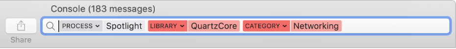 Search field in the Console window with the search criteria set to find messages from the Spotlight process, but not from the QuartzCore library or the Networking category.