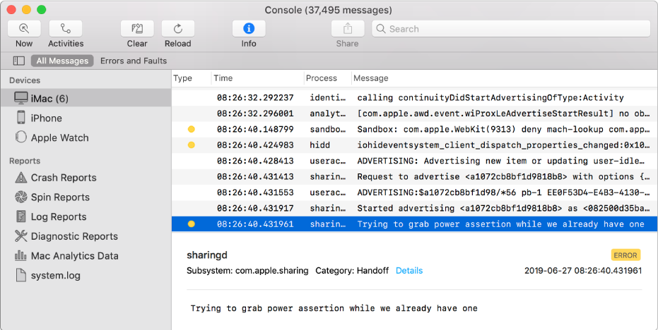 The Console window with a log message selected and details in the bottom pane.