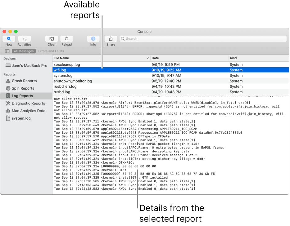 The Console window showing report categories in the sidebar, reports on the top and to the right of the sidebar, and report details below.