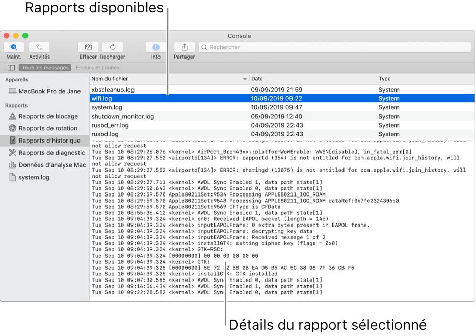 Fenêtre de Console présentant les catégories de rapport dans la barre latérale, les rapports en haut à droite de la barre latérale, et les détails des rapports en dessous.