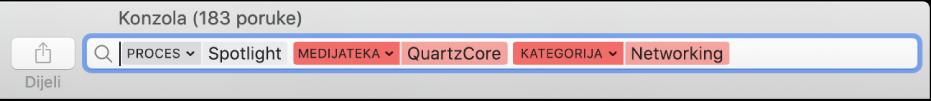 Pretražite polje u prozoru Konzola s kriterijima pretraživanja podešenima za pronalaženje poruka iz postupka Spotlight, ali ne iz medijateke QuartzCore ili kategorije Umrežavanje.