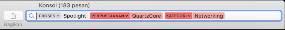 Bidang pencarian di jendela Konsol dengan kriteria pencarian diatur untuk menemukan pesan dari proses Spotlight, tetapi tidak dari perpustakaan Quartzcore atau kategori Jaringan.
