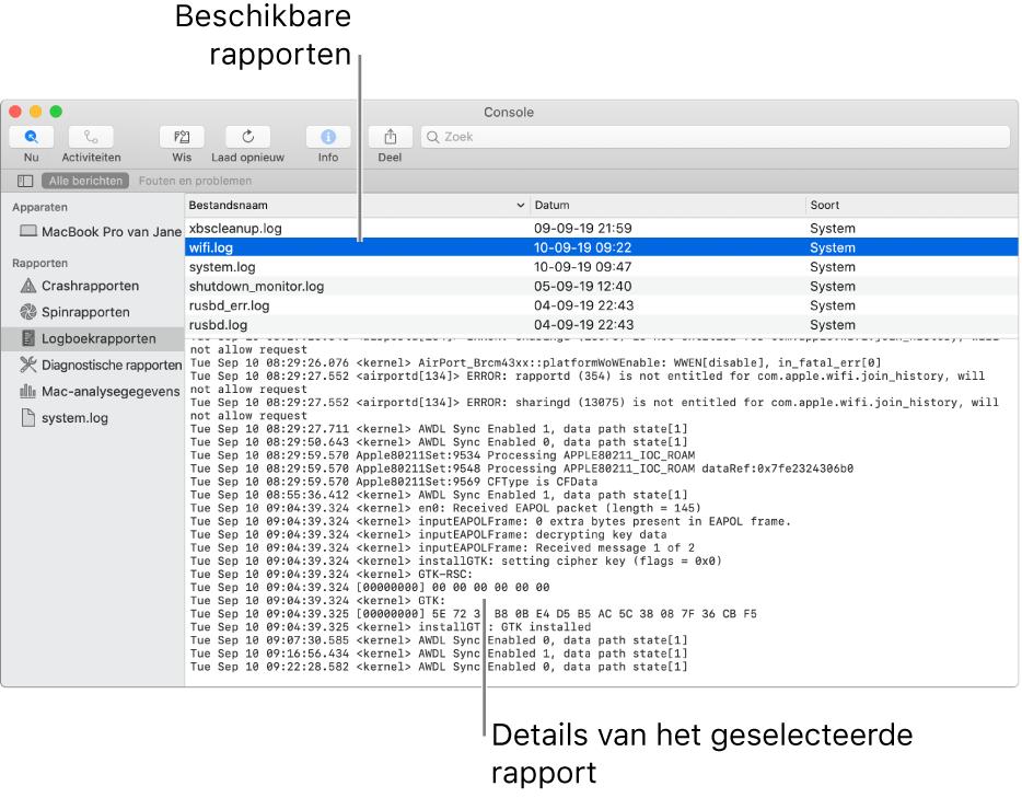 Het Console-venster met rapportcategorieën in de navigatiekolom, rapporten bovenin en rechts van de navigatiekolom en daaronder de rapportdetails.