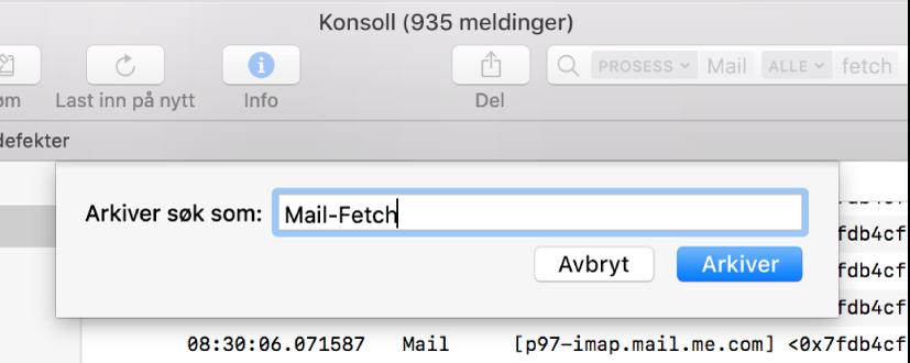 Viser arkivering av et søk i Konsoll etter angivelse av søkekriterier.