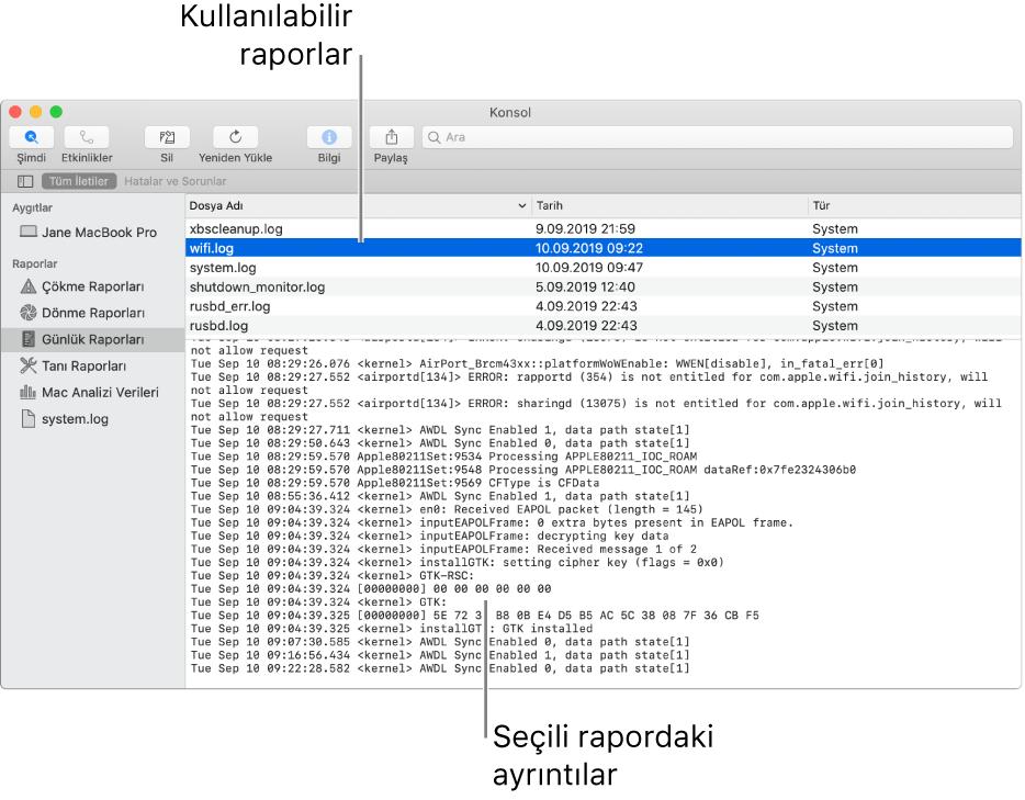 Kenar çubuğunda rapor kategorilerini, kenar çubuğunun üstünde ve sağında raporları ve aşağıda rapor ayrıntılarını gösteren Konsol penceresi.