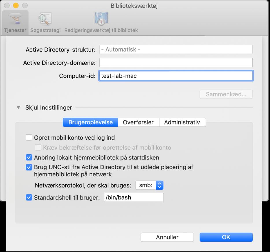 Active Directory-konfigurationsdialogen udvidet med indstillinger.