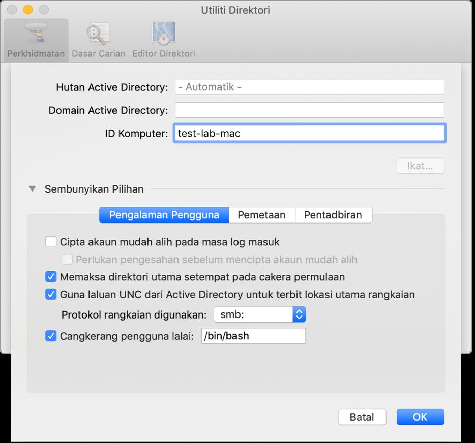 Dialog konfigurasi Active Directory dengan bahagian pilihan dikembangkan.