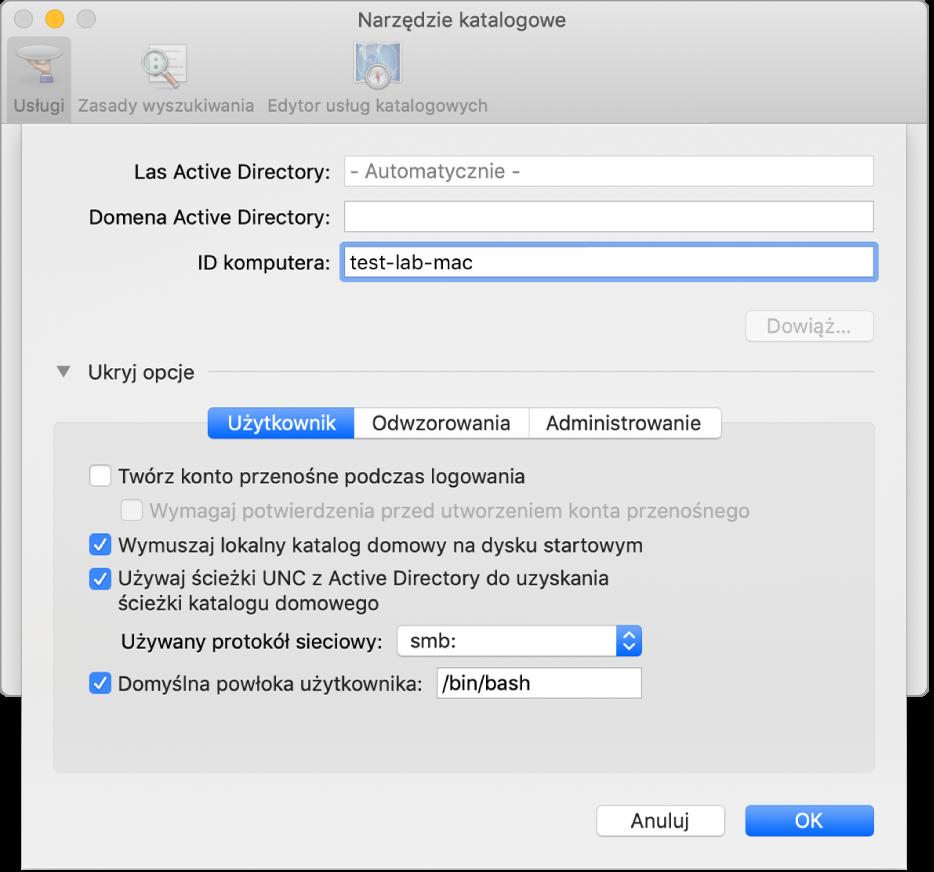 Okno dialogowe konfiguracji Active Directory zrozwiniętą sekcją opcji.