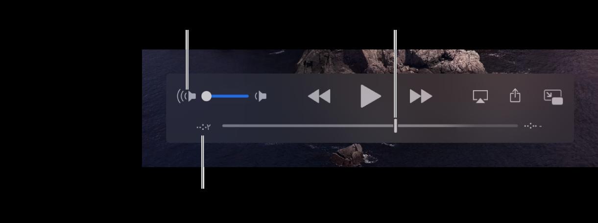 عناصر التحكم في تشغيل QuickTime Player. على امتداد الجزء العلوي، يظهر عنصر التحكم في مستوى الصوت وزر إرجاع وزر تشغيل/إيقاف مؤقت وزر تقديم سريع. موجود في الجزء السفلي رأس التشغيل، حيث يمكنك السحب للانتقال إلى نقطة معينة في الملف. يظهر الوقت المتبقي في الملف على يمين الجزء السفلي.