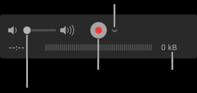Ovládací prvky záznamu, včetně ovládání hlasitosti, tlačítka Záznam amístní nabídky Volby