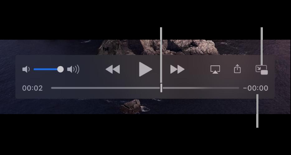 Τα χειριστήρια αναπαραγωγής του QuickTime Player. Στην πάνω πλευρά είναι τα κουμπιά έντασης ήχου, Γρήγορης επαναφοράς, Αναπαραγωγής/Παύσης, και Γρήγορης προώθησης. Στην κάτω πλευρά είναι η κεφαλή αναπαραγωγής, την οποία μπορείτε να σύρετε για μετάβαση σε ένα συγκεκριμένο σημείο στο αρχείο. Ο χρόνος που απομένει στο αρχείο εμφανίζεται κάτω δεξιά.