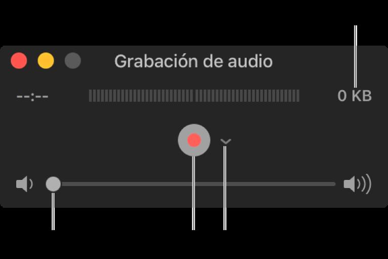 """La ventana """"Grabación de audio"""" con el botón Grabar, el menú desplegable Opciones en el centro de la ventana y el control de volumen en la parte inferior."""